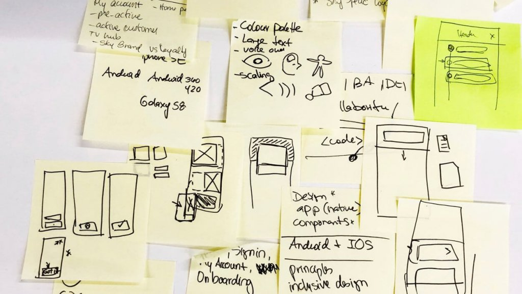 Post it notes, UX flow and idea